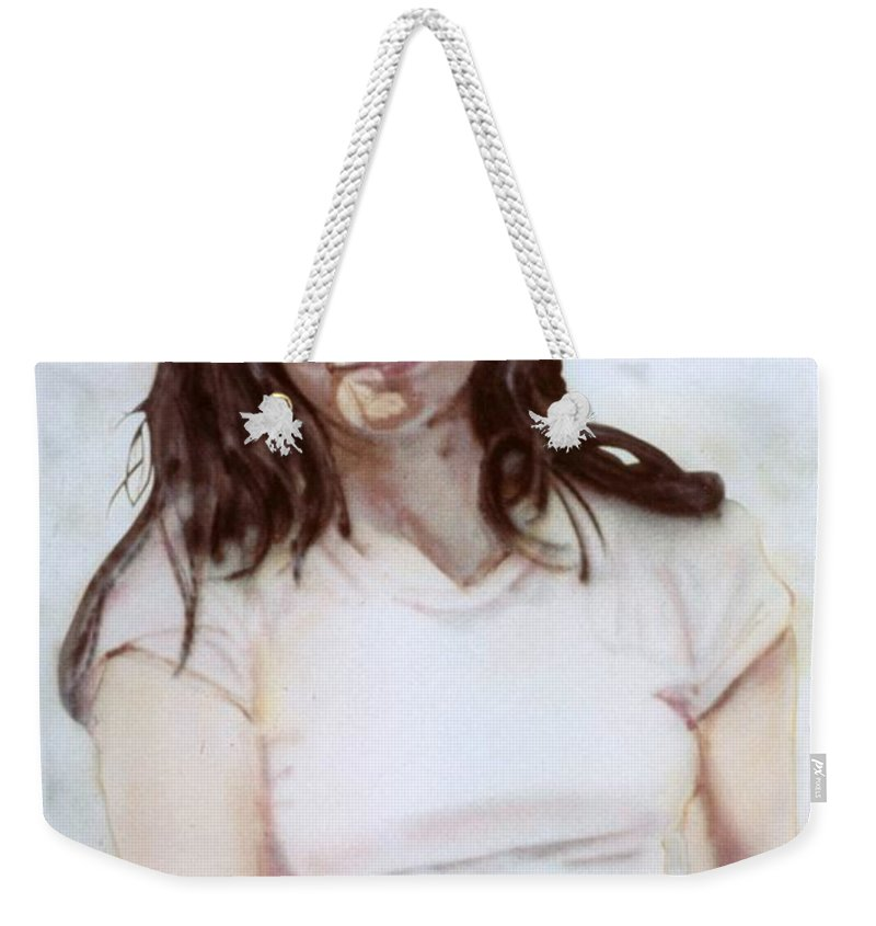 Portrait Weekender Tote Bag featuring the painting Young Woman by Ron Bissett