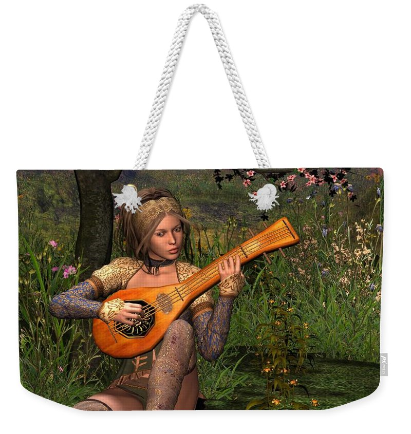 Fantasy Weekender Tote Bag featuring the digital art Young Women Playing The Lute by John Junek