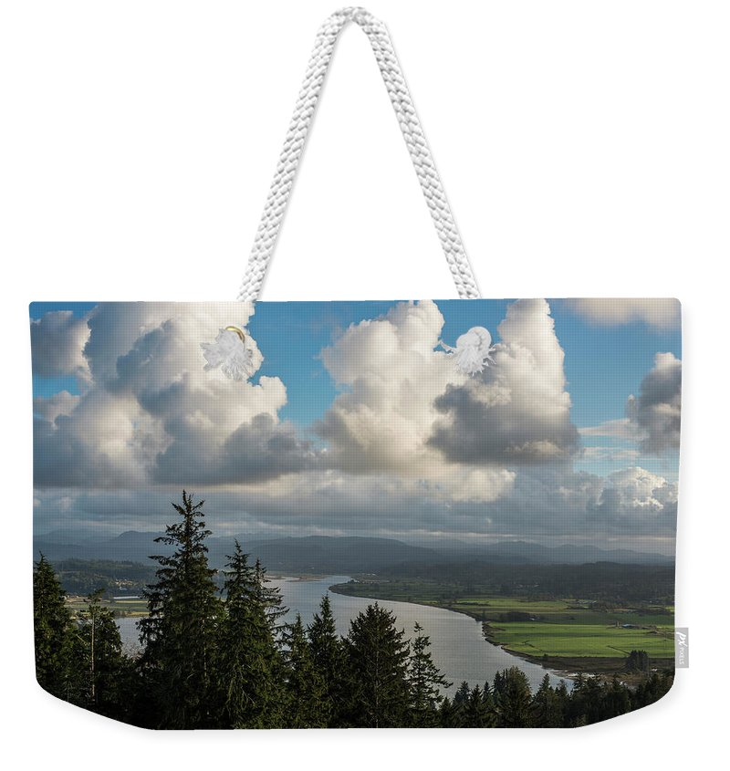 Astoria Weekender Tote Bag featuring the photograph Youngs Bay And Clouds by Robert Potts
