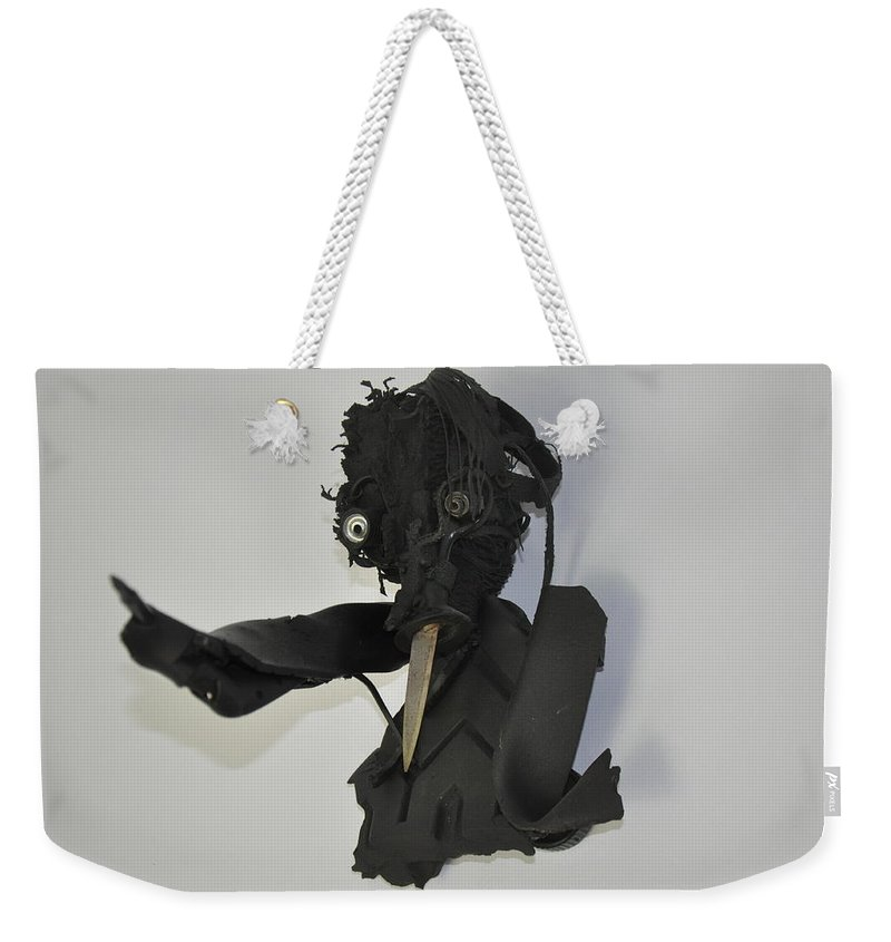 Green Weekender Tote Bag featuring the mixed media You're Tired Of My Nosey Allegations And Stabbing Remarks by Michael Jude Russo