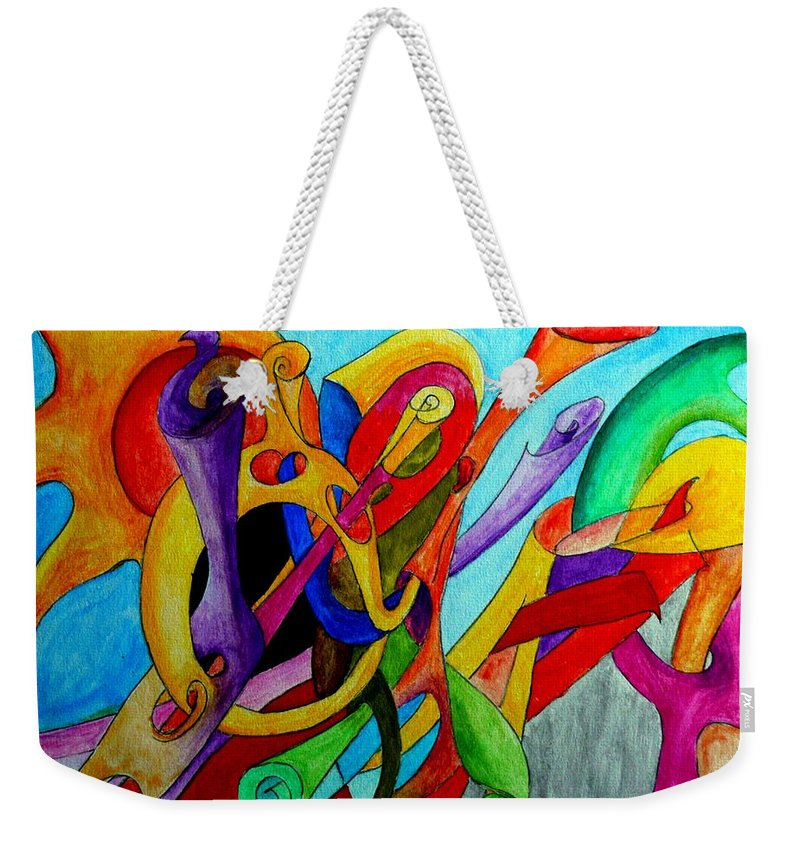 Yourname Weekender Tote Bag featuring the painting Yourname by Helmut Rottler