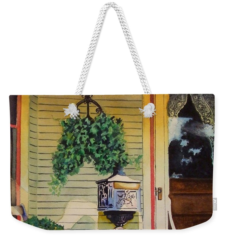 Antique Weekender Tote Bag featuring the painting You've Got Mail by Greg and Linda Halom