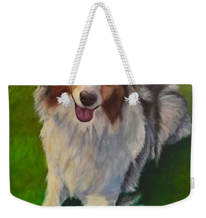 Yuki Weekender Tote Bag featuring the painting Yuki by Shannon Grissom