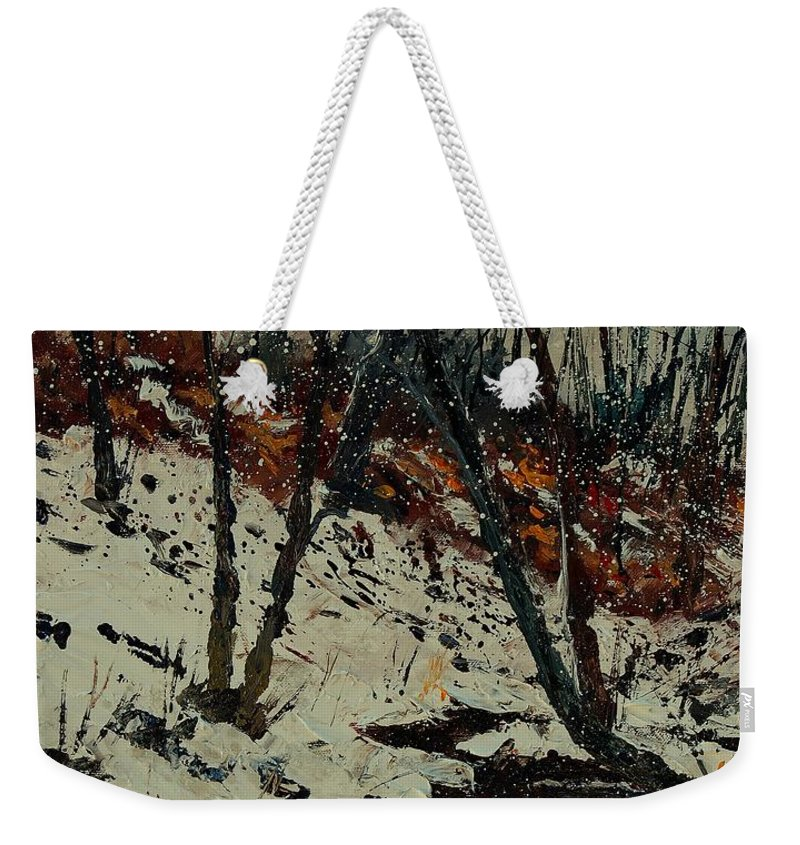 Winter Weekender Tote Bag featuring the painting Ywoigne Snow by Pol Ledent
