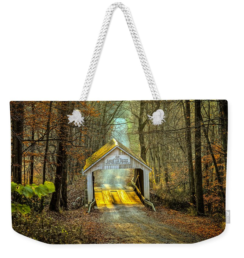 Indiana Weekender Tote Bag featuring the photograph Zacke Cox Covered Bridge by Jack R Perry