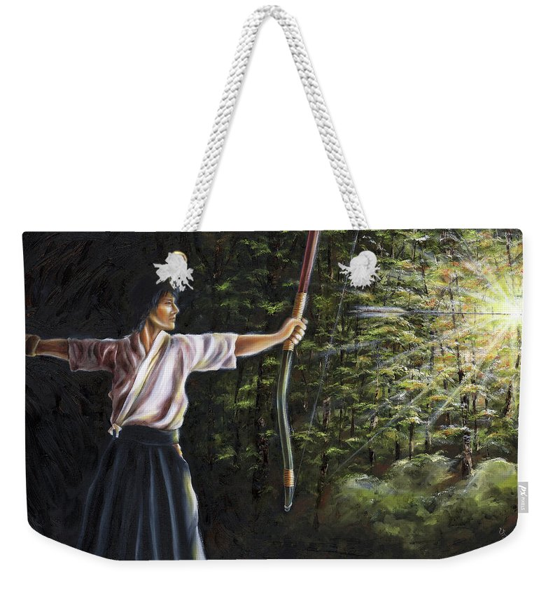 Japanese Archery Weekender Tote Bag featuring the painting Zanshin by Hiroko Sakai