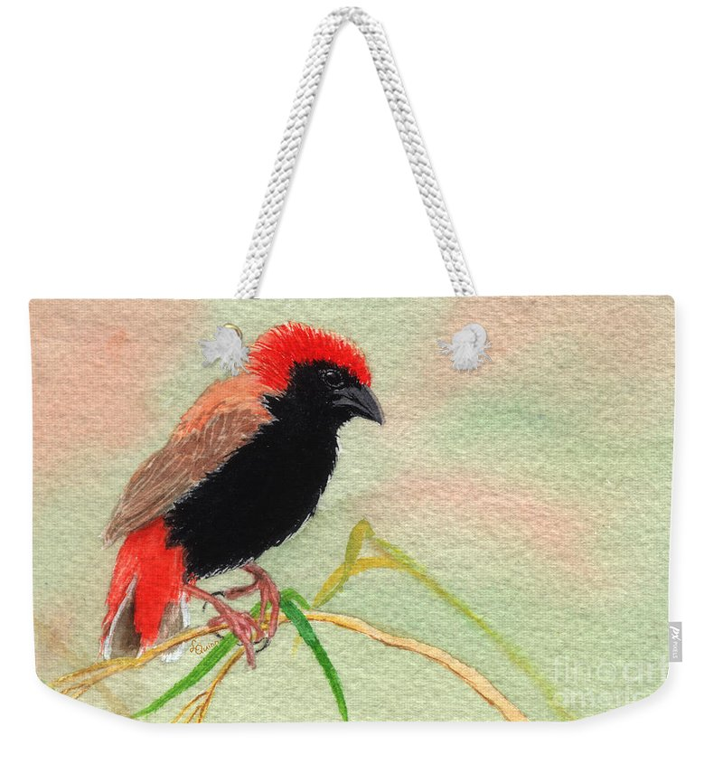Bird Weekender Tote Bag featuring the painting Zanzibar Red Bishop by Lynn Quinn