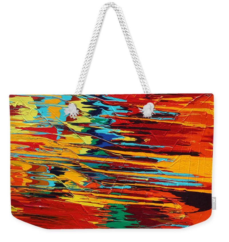 Fusionart Weekender Tote Bag featuring the painting Zap by Ralph White