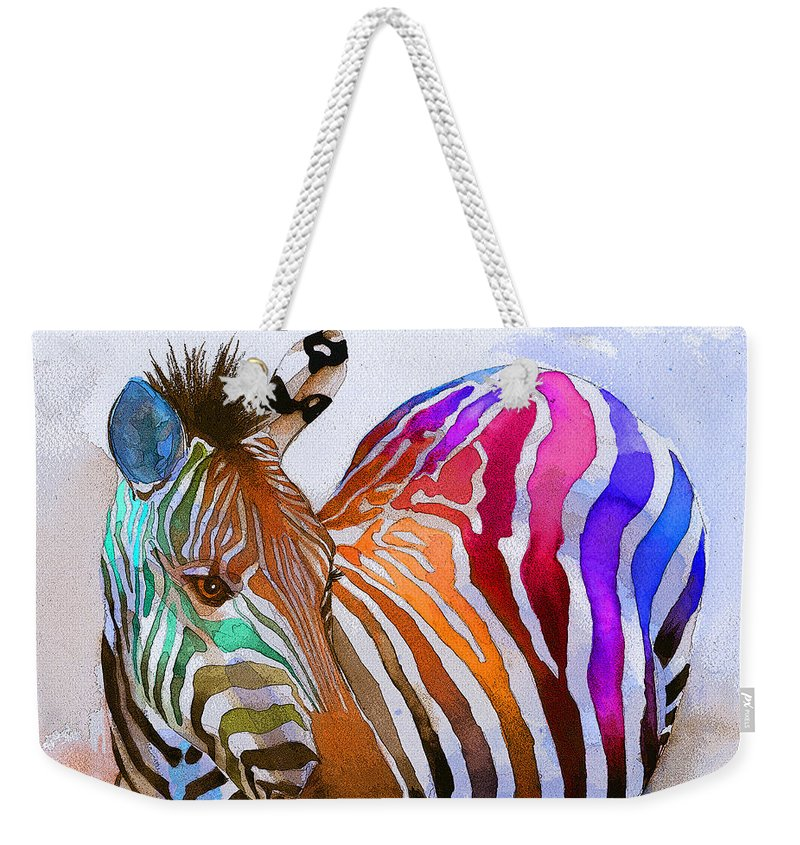 Colorful Weekender Tote Bag featuring the painting Zebra Dreams by Galen Hazelhofer