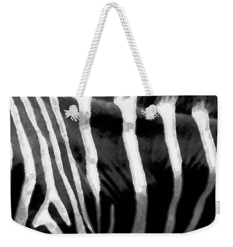 Zebra Art Weekender Tote Bag featuring the photograph Zebra Lines by Linda Sannuti