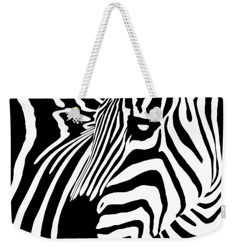 Zebra Weekender Tote Bag featuring the digital art Zebra Works by Janet Fikar