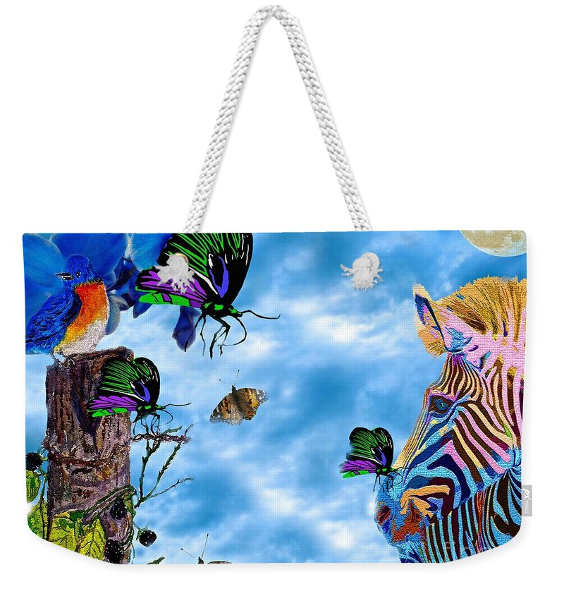 Zebra Weekender Tote Bag featuring the painting Zebras Birds And Butterflies Good Morning My Friends by Saundra Myles