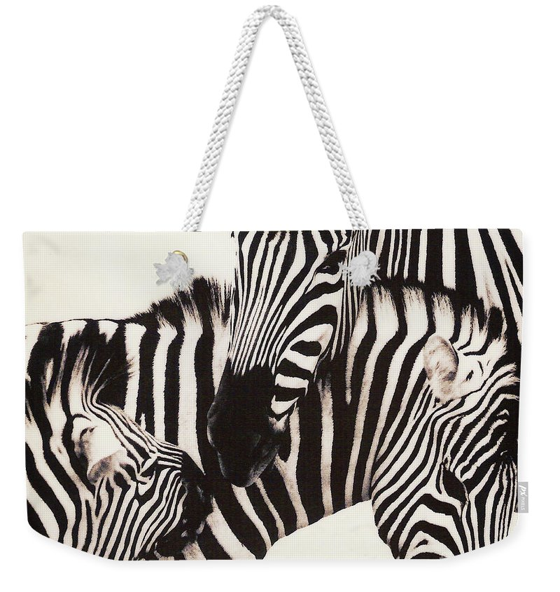 Zebra Weekender Tote Bag featuring the photograph Zebra by Don Schimmel