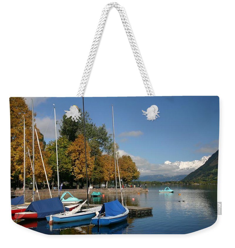 Sail Boats Weekender Tote Bag featuring the photograph Zell Am See The Elements In Austria by Minaz Jantz