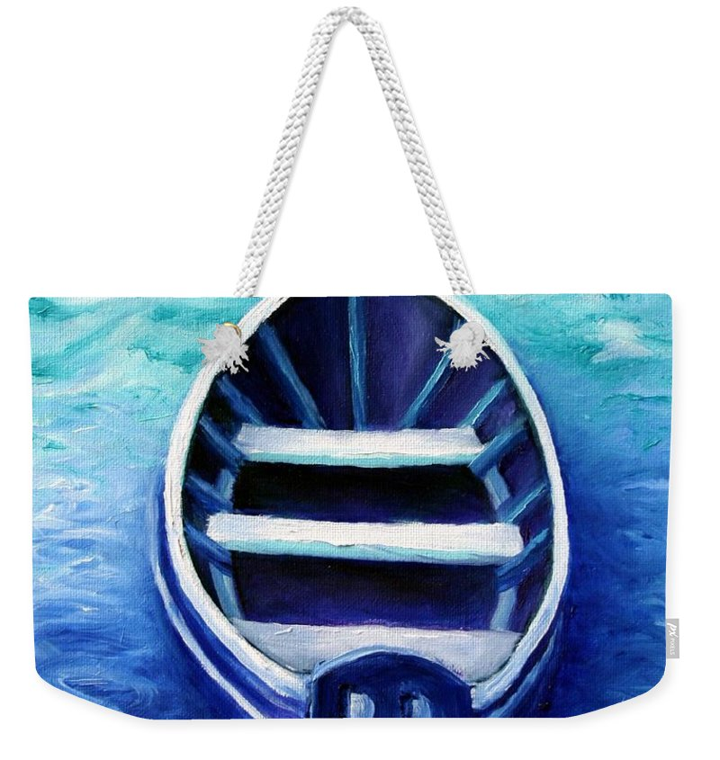 Boat Weekender Tote Bag featuring the painting Zen Boat by Minaz Jantz