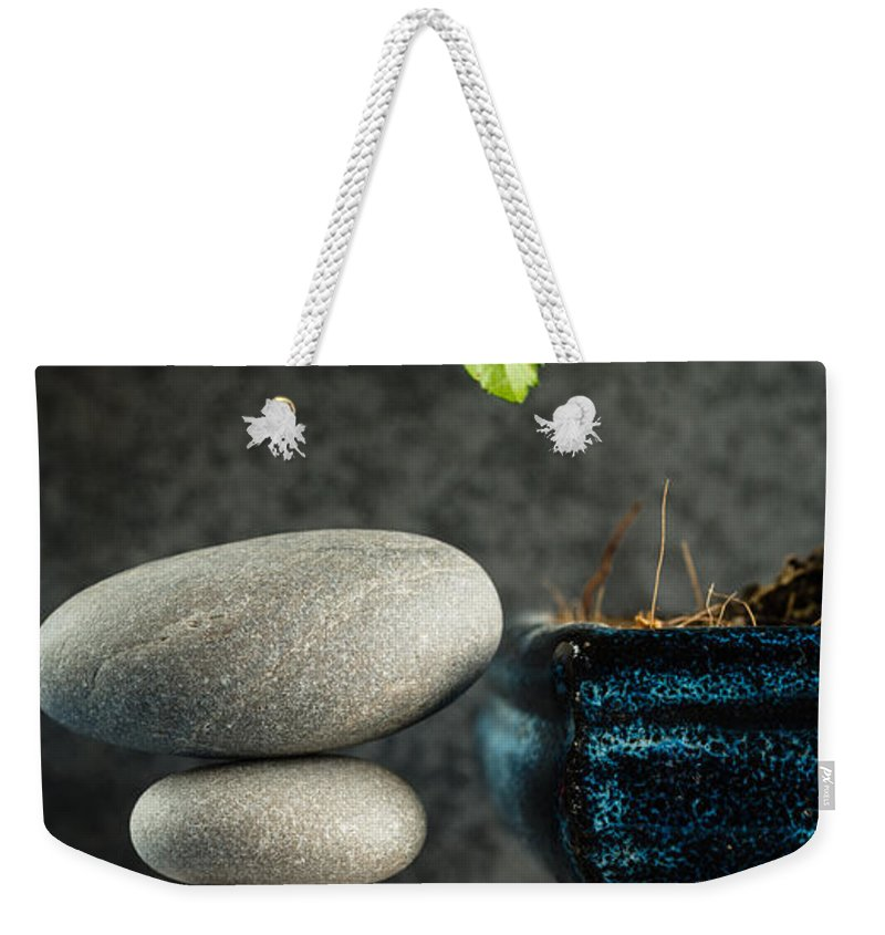 Bonsai Weekender Tote Bag featuring the photograph Zen Stones And Bonsai Tree by Marco Oliveira