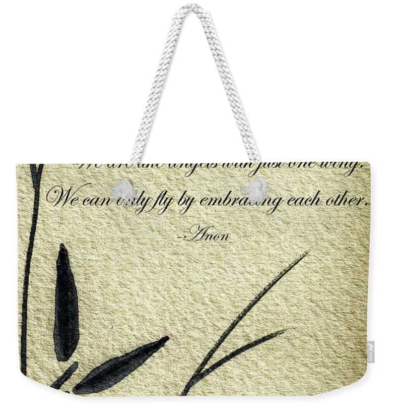 Abstract Weekender Tote Bag featuring the mixed media Zen Sumi 4d Antique Motivational Flower Ink On Watercolor Paper By Ricardos by Ricardos Creations