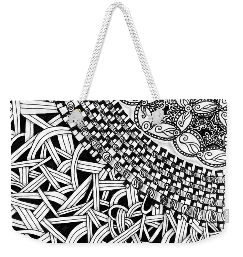 Abstract Weekender Tote Bag featuring the drawing Zentangle Inspired Design by Eric Strickland