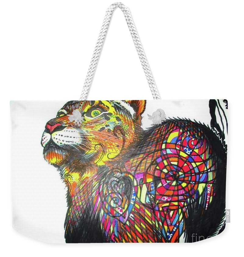 Mountain Cat Weekender Tote Bag featuring the digital art Day-doodle Mountain Kitty by Dana Pedersen