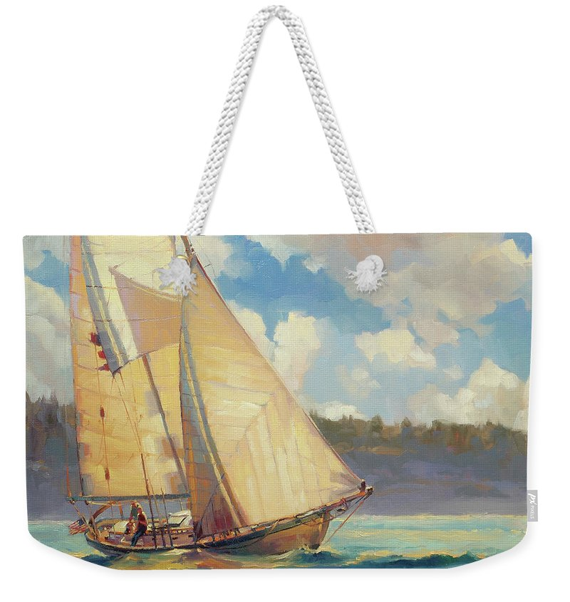 Sailboat Weekender Tote Bag featuring the painting Zephyr by Steve Henderson