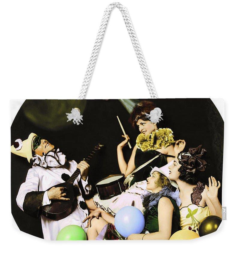 Ziegfeld Weekender Tote Bag featuring the photograph Ziegfeld Model By Alfred Cheney Johnston Pierrot Serenading Three Beautiful Sexy Women by R Muirhead Art