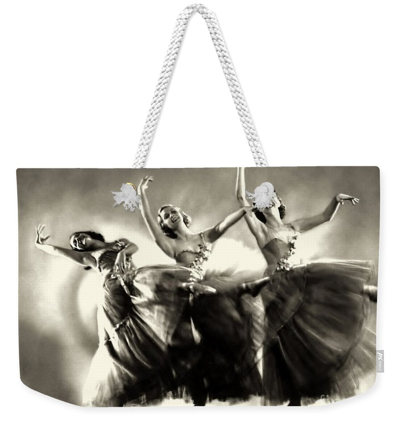Ziegfeld Model Weekender Tote Bag featuring the photograph Ziegfeld Model Dancers By Alfred Cheney Johnston Black And White Ballet by R Muirhead Art