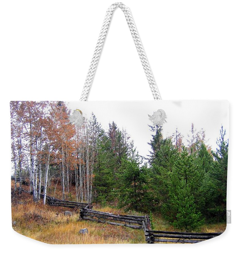 Zigzag Rail Fence Weekender Tote Bag featuring the photograph Zigzag Rail Fence by Will Borden