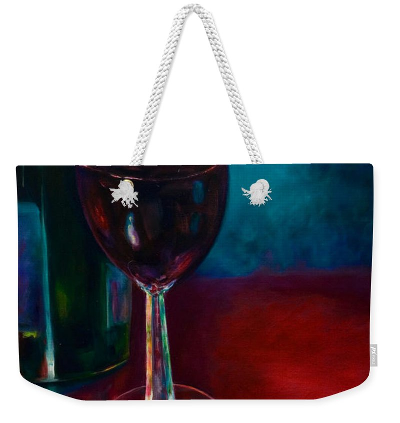 Wine Bottle Weekender Tote Bag featuring the painting Zinfandel by Shannon Grissom