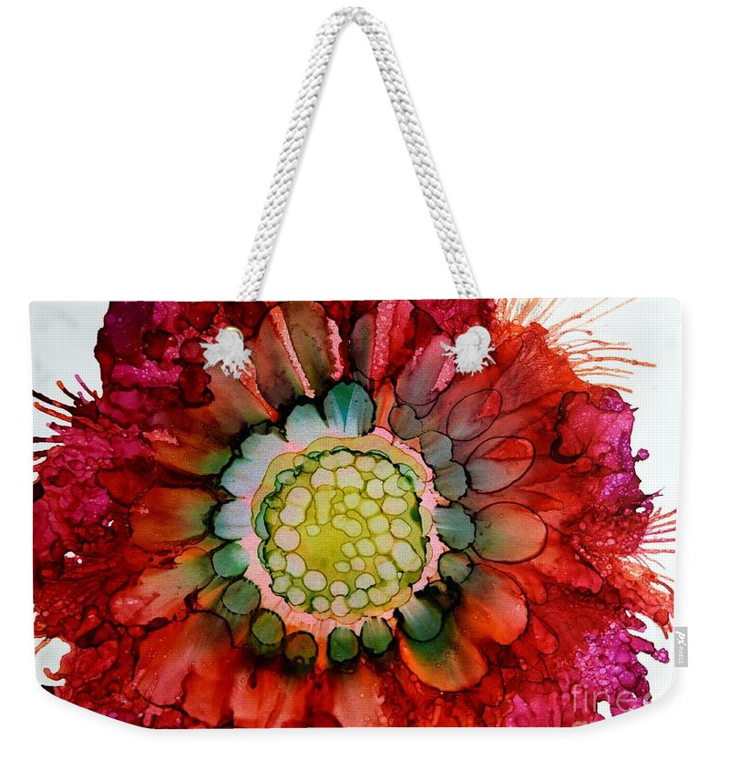 Floral Weekender Tote Bag featuring the painting Zinna Harvest by Beth Kluth