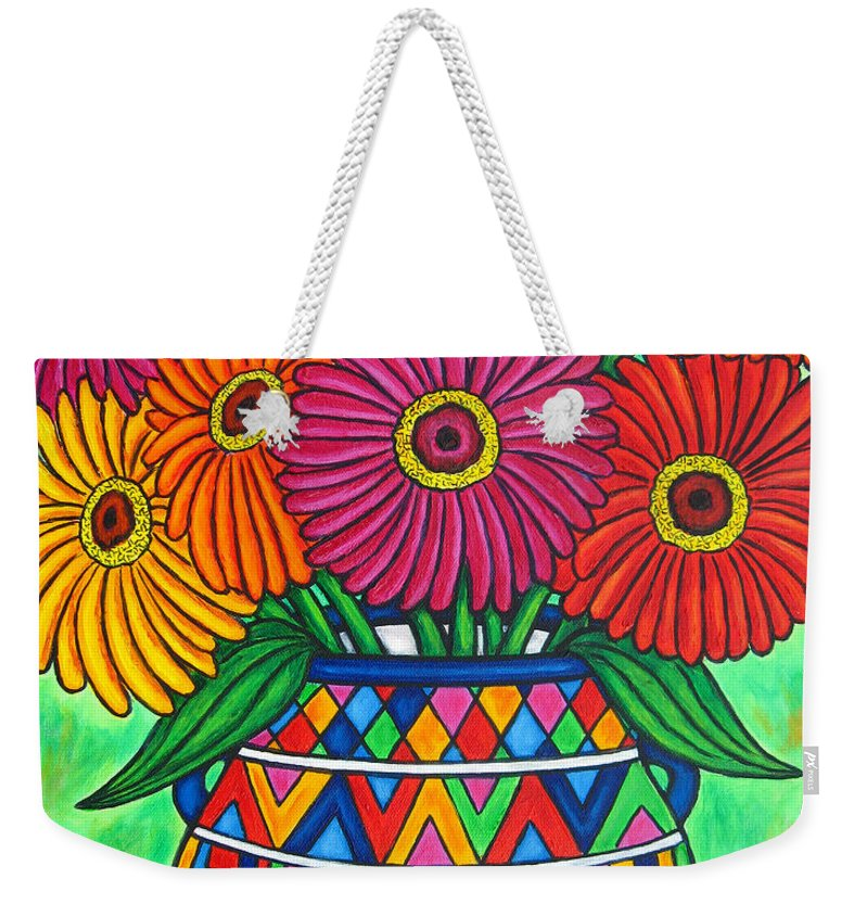 Zinnia Weekender Tote Bag featuring the painting Zinnia Fiesta by Lisa Lorenz