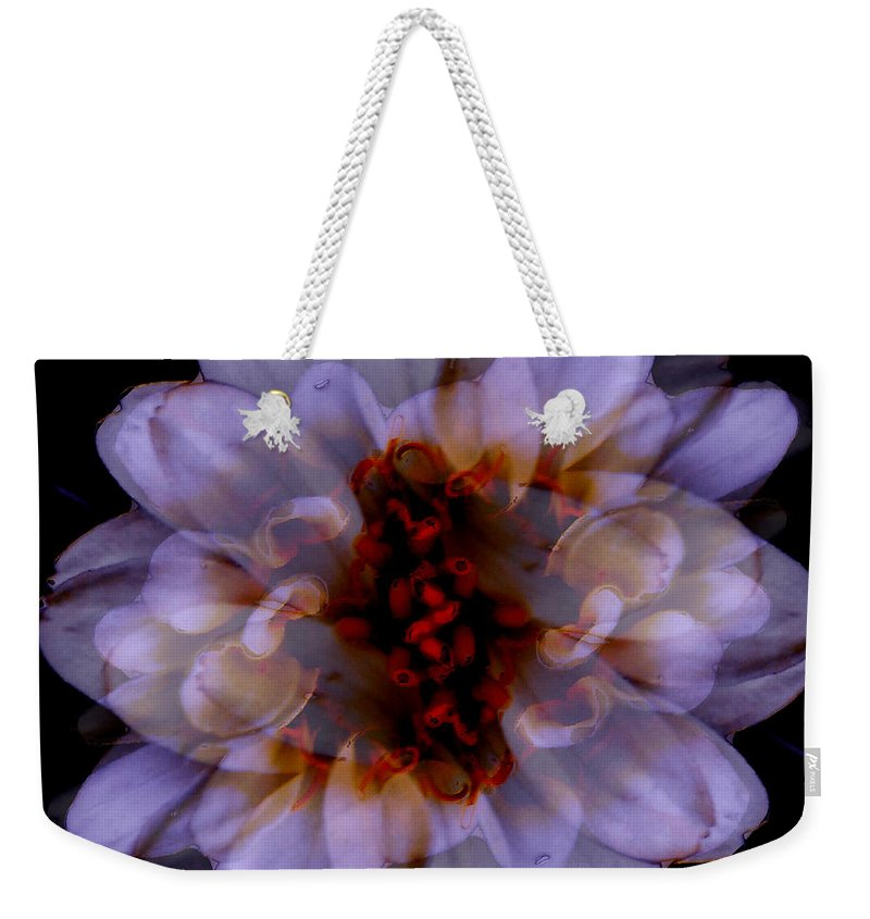 Blotanical Weekender Tote Bag featuring the mixed media Zinnia On Black by Ruth Palmer