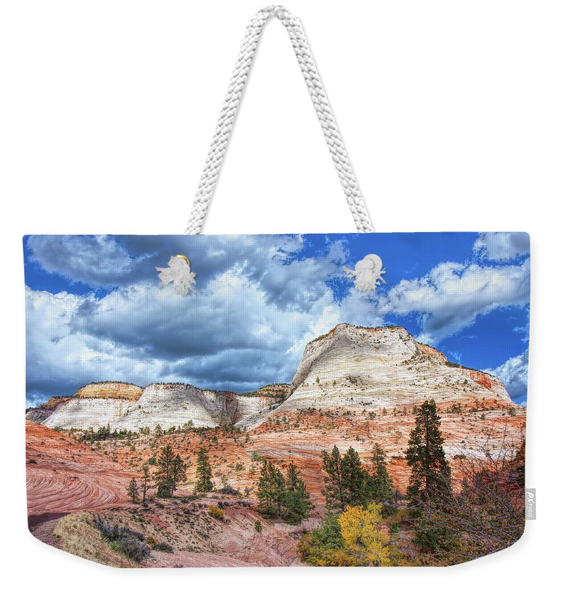 Landscape Weekender Tote Bag featuring the photograph Zion Promontories by John M Bailey