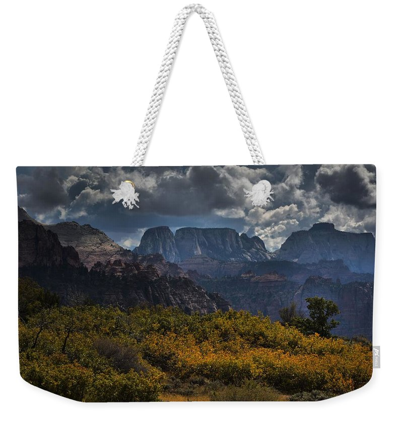 Zion National Park Weekender Tote Bag featuring the photograph Zion-rock On by Robert McCubbin