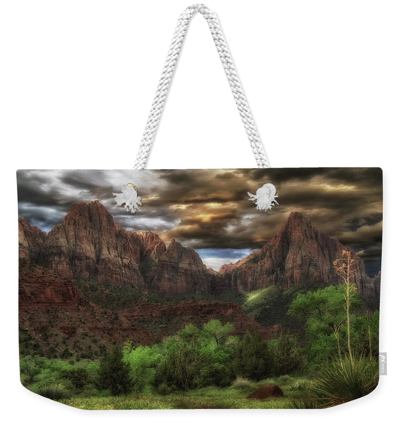 National Park Weekender Tote Bag featuring the photograph Zion's Morning by Mitch Johanson