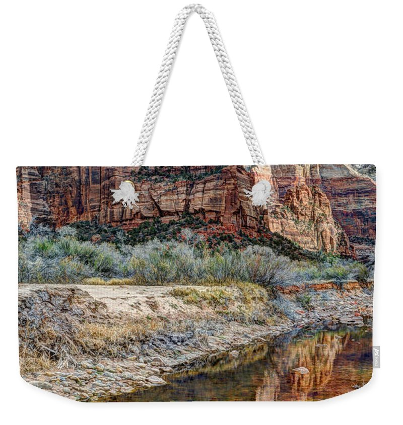 Angels Landing Weekender Tote Bag featuring the photograph Zions National Park Angels Landing - Digital Painting by Gary Whitton