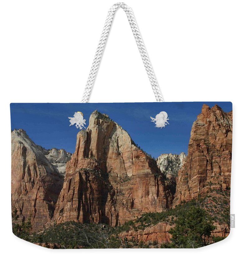 Zion Weekender Tote Bag featuring the photograph Zion's Patriarchs by Nelson Strong