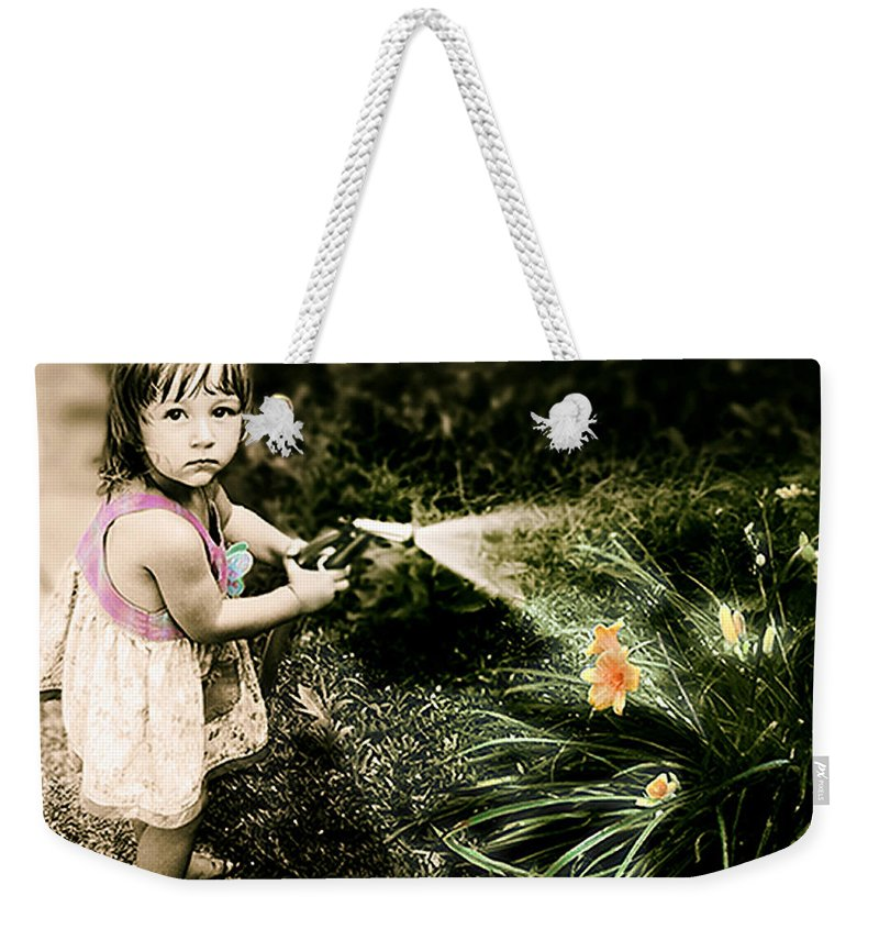 Children Weekender Tote Bag featuring the photograph Zoe Waters The Flowers by Karen W Meyer