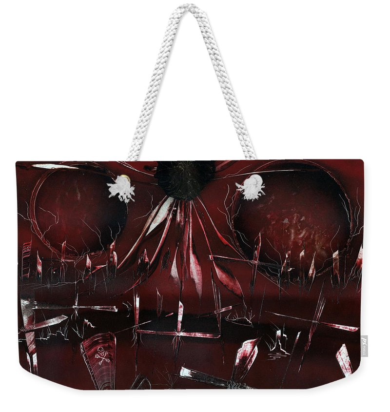 Zombie Weekender Tote Bag featuring the painting Zombie Graveyard by Jason Girard