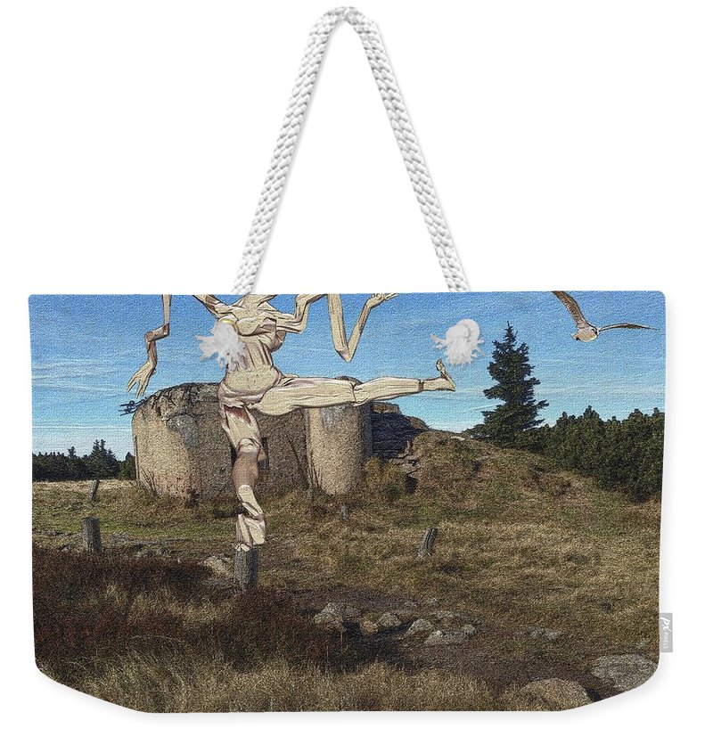 Modern Painting Weekender Tote Bag featuring the mixed media Zombie Near The Ruins by Pemaro