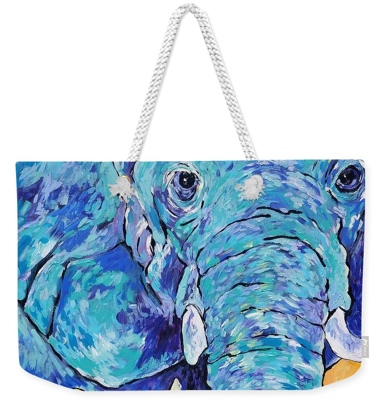 Blue Elephant Weekender Tote Bag featuring the painting Zoo Elephant by Arrin Burgand