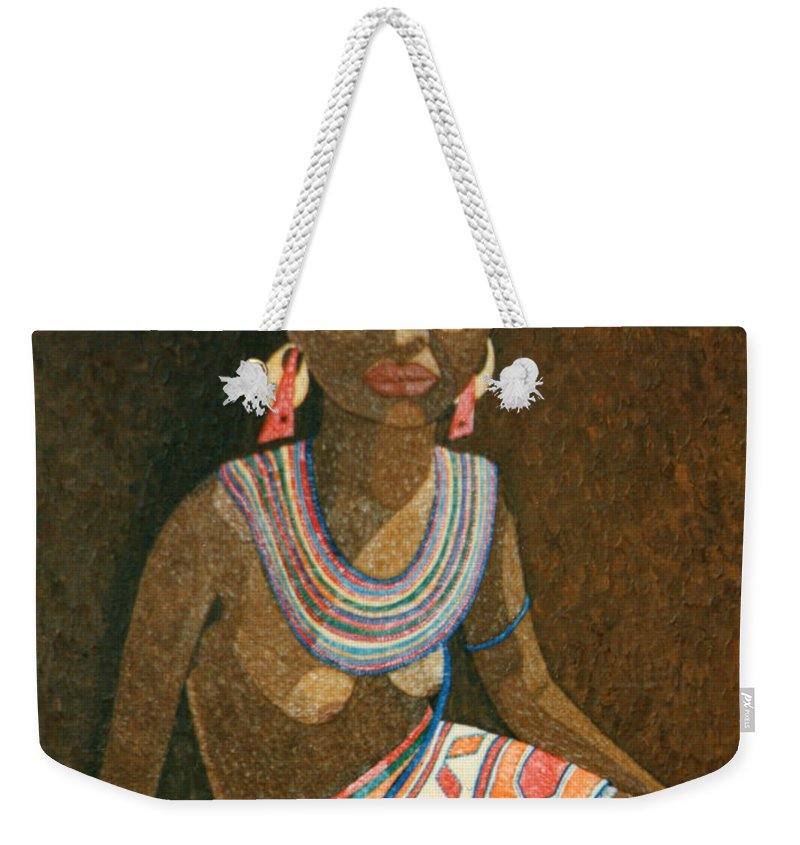 Zulu Woman Weekender Tote Bag featuring the painting Zulu Woman With Beads by Madalena Lobao-Tello