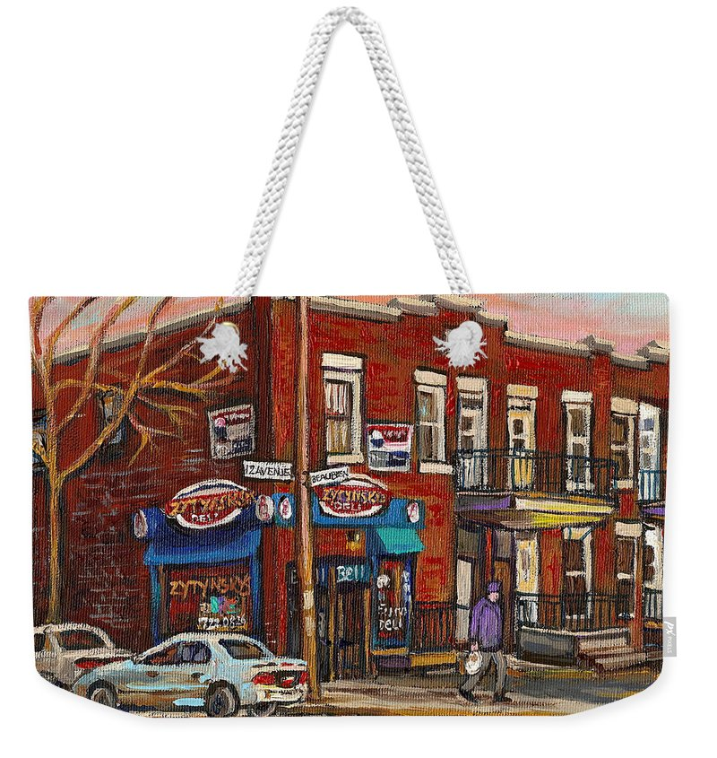Deli Weekender Tote Bag featuring the painting Zytynsky's Deli Rosemont Montreal by Carole Spandau