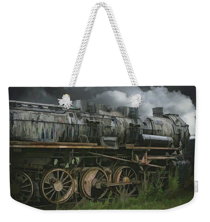 Abstract Weekender Tote Bag featuring the photograph Abandoned Steam Locomotive by Robert Kinser
