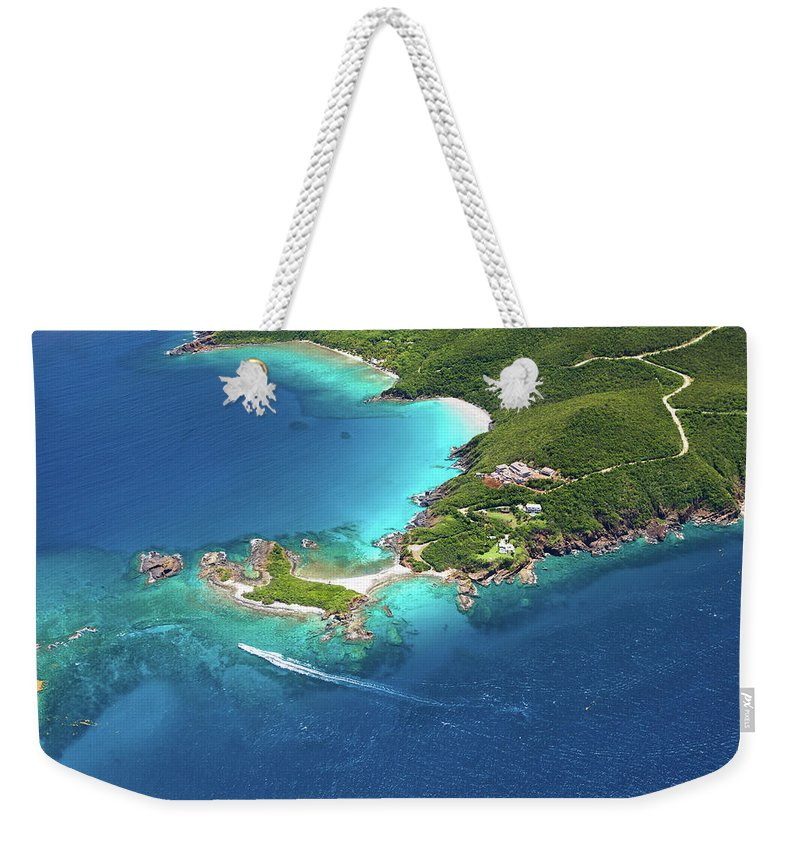 Water's Edge Weekender Tote Bag featuring the photograph Aerial Shot Of West End, St. Thomas, Us by Cdwheatley