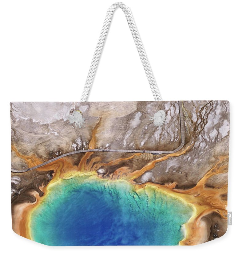 Geyser Weekender Tote Bag featuring the photograph Aerial View Of Grand Prismatic Spring by Holger Leue