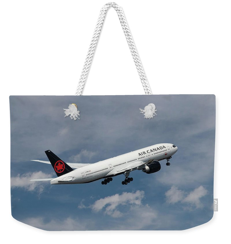 Air Canada Weekender Tote Bag featuring the mixed media Air Canada Boeing 777-233 Lr by Smart Aviation