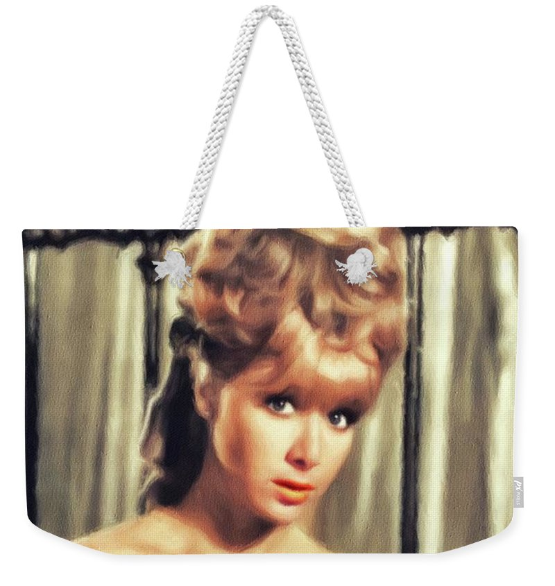 Angela Weekender Tote Bag featuring the painting Angela Douglas, British Actress by John Springfield