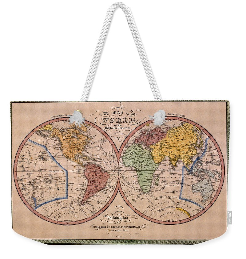 Latitude Weekender Tote Bag featuring the photograph Antique Map Of The World by Comstock