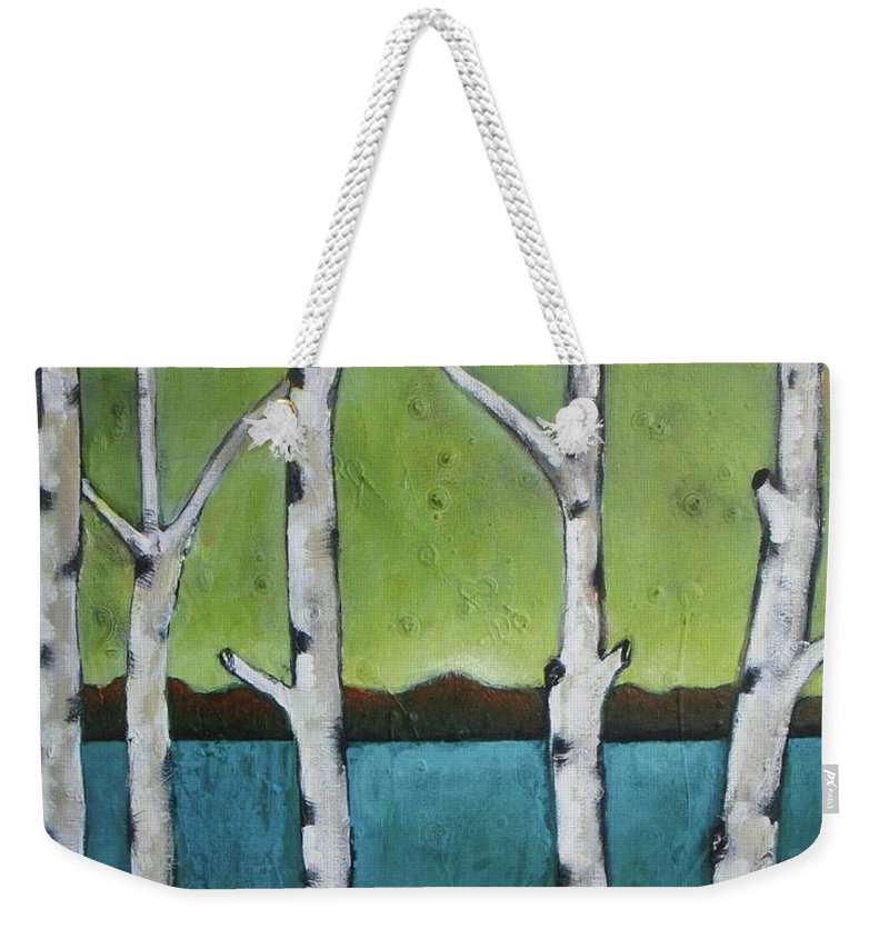 Aspen Weekender Tote Bag featuring the photograph Aspen Trees On The Lake by Vesna Antic