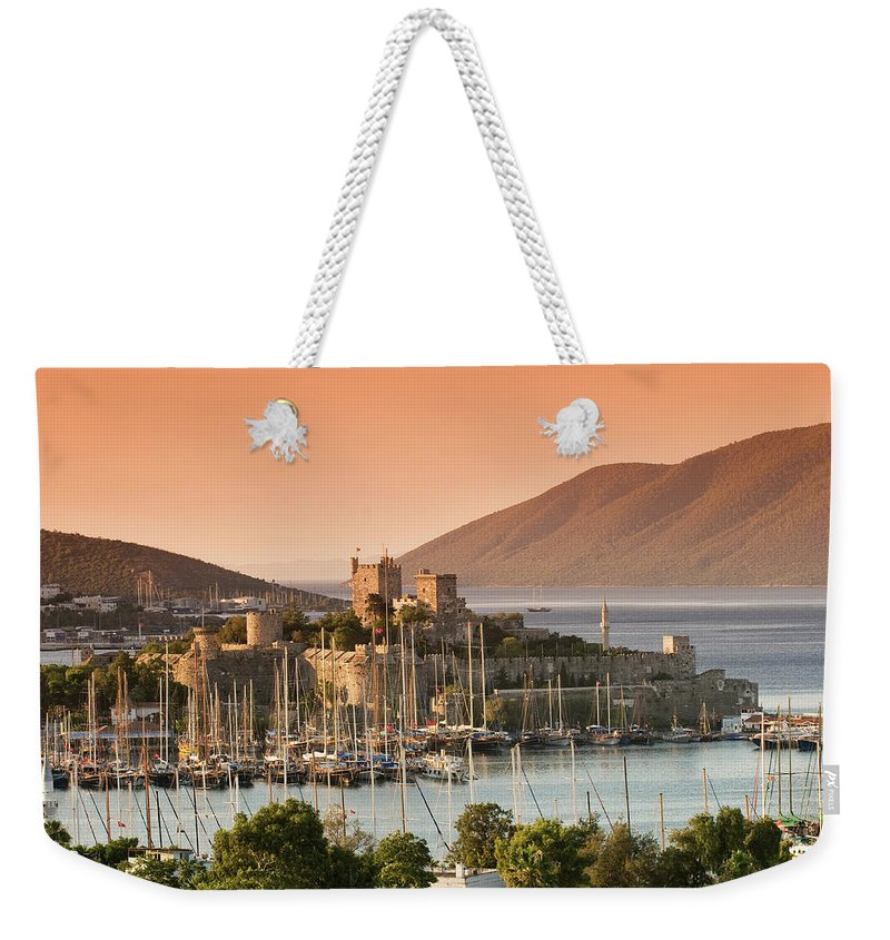 Built Structure Weekender Tote Bag featuring the photograph Bodrum Castle by Izzet Keribar